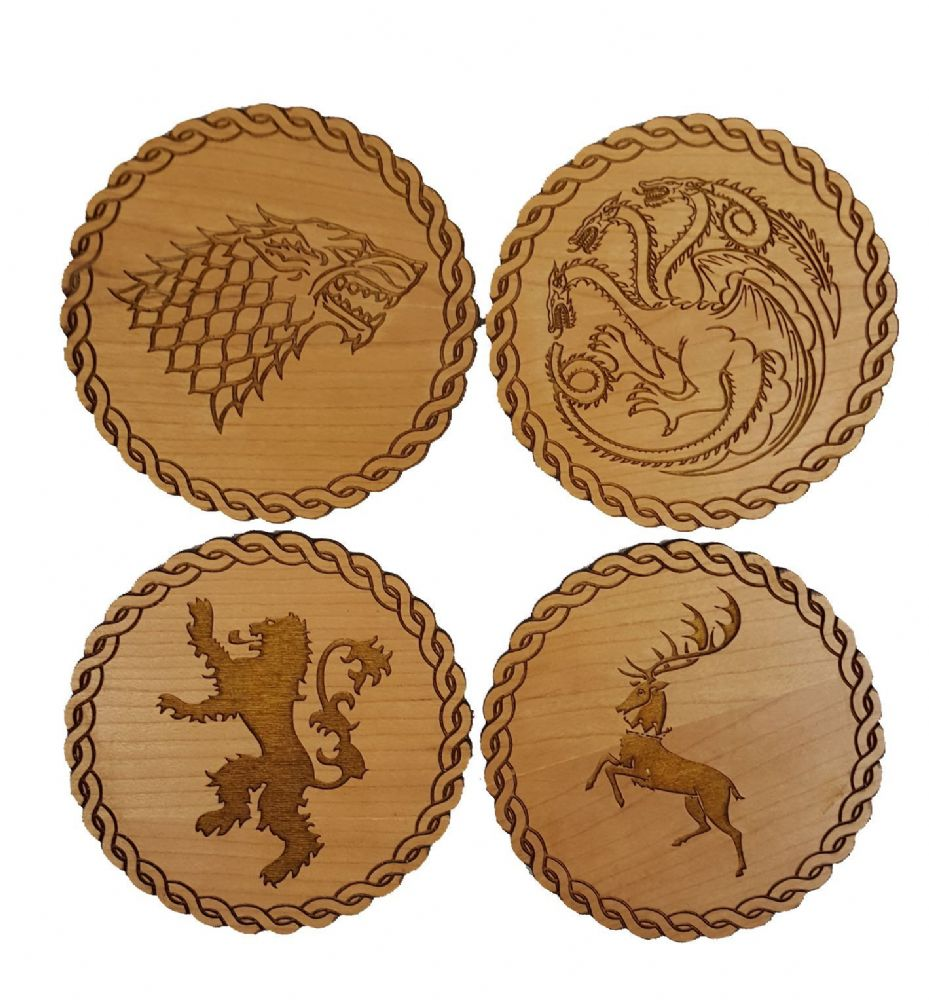 Game Of Thrones Inspired Wooden Coasters Set Of 4 Main